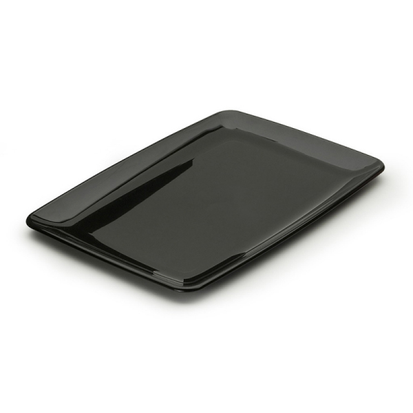 assiette rectangle en plastique rigide noir (20 x 28 cm) x 20