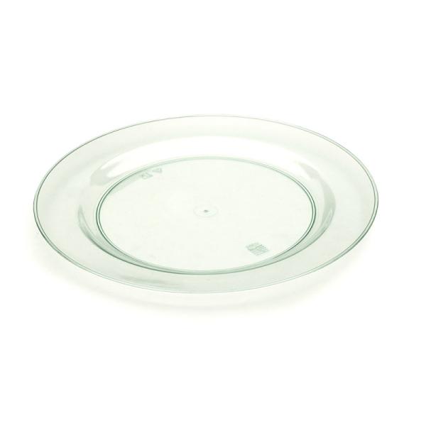 assiette en plastique rigide vert d'eau (26 cm) x 20