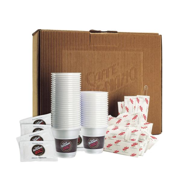 kit 100 gobelets, bûchettes de sucre & spatules caffè vergnano