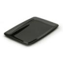 20 assiettes en plastique rigide rectangle noir 20x30 cm