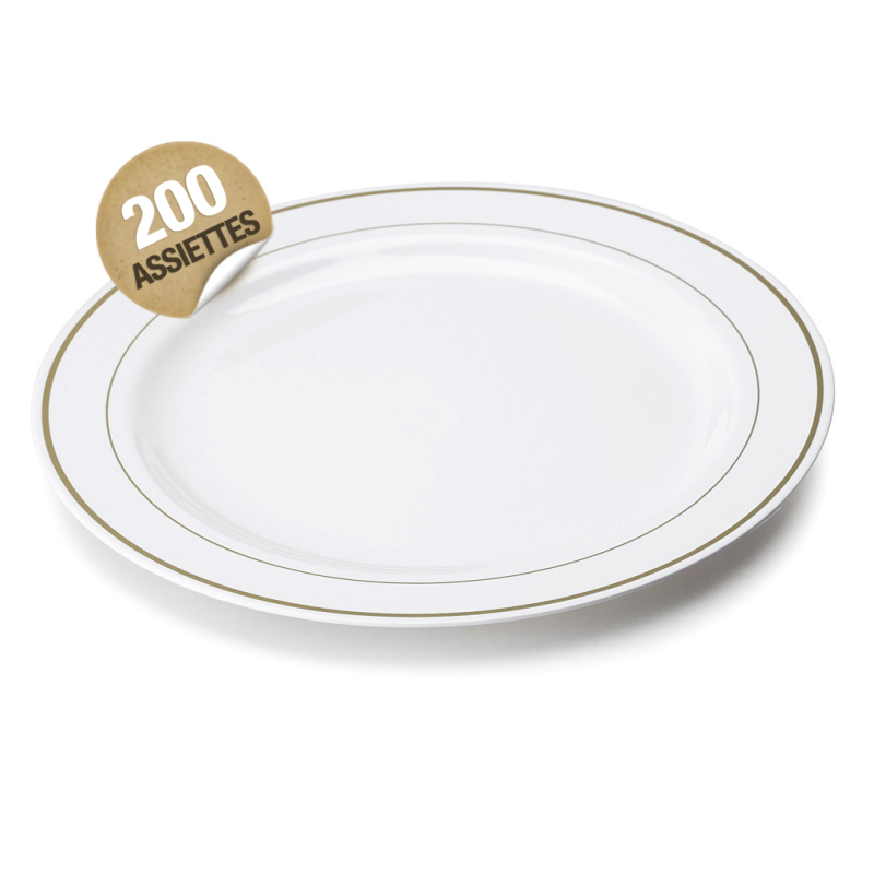 Assiette en plastique rigide blanc liser or 26 cm assiettes - Assiette secret de gourmet ...