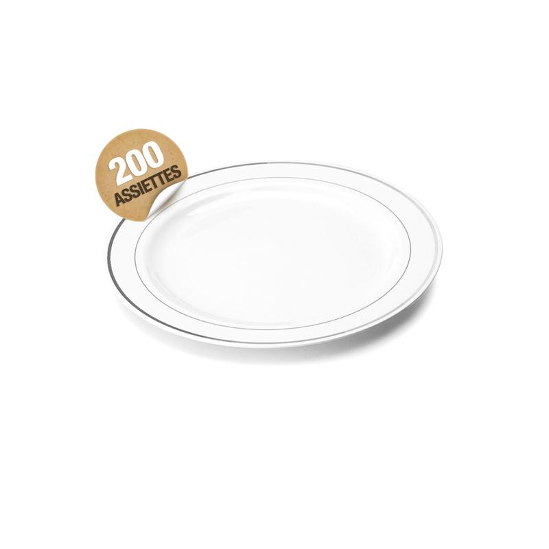 assiette en plastique rigide blanc liser argent 15 cm assiettes. Black Bedroom Furniture Sets. Home Design Ideas