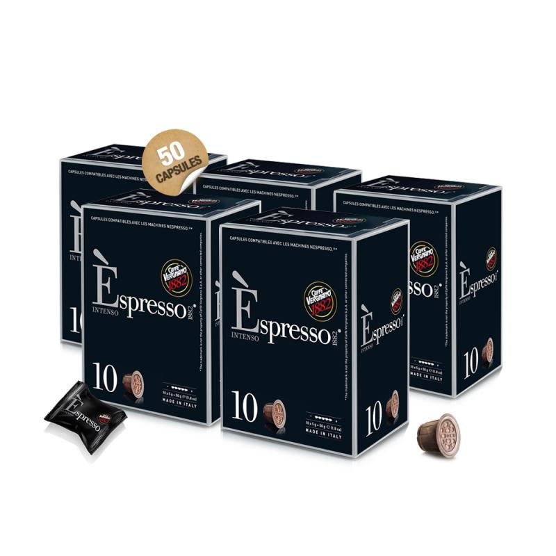 capsule espresso intenso vergnano comptabiles nespresso bo te de 50 capsules nespresso. Black Bedroom Furniture Sets. Home Design Ideas