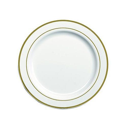 Assiette En Plastique Rigide Blanc Liser Or 23 Cm Assiettes