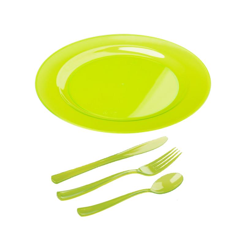 Kit Assiettes Et Couverts Plastique Vert Anis 6 Pers Lot De 30 Pi Ces