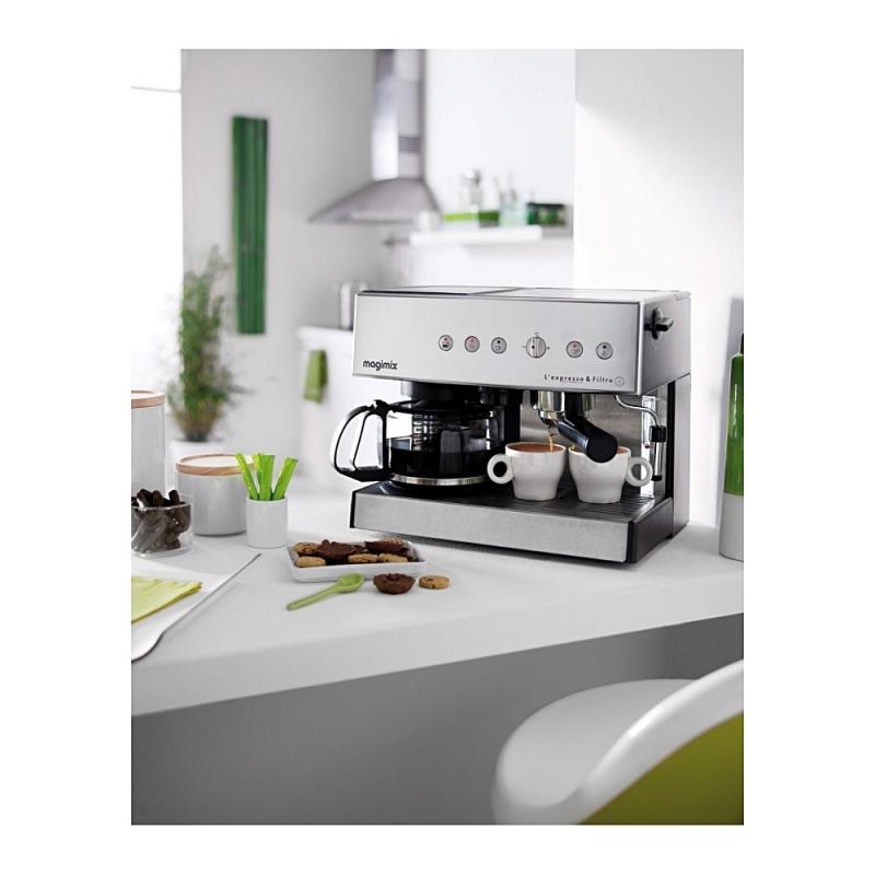 machine caf combin e chrom e avec cafeti re filtre. Black Bedroom Furniture Sets. Home Design Ideas