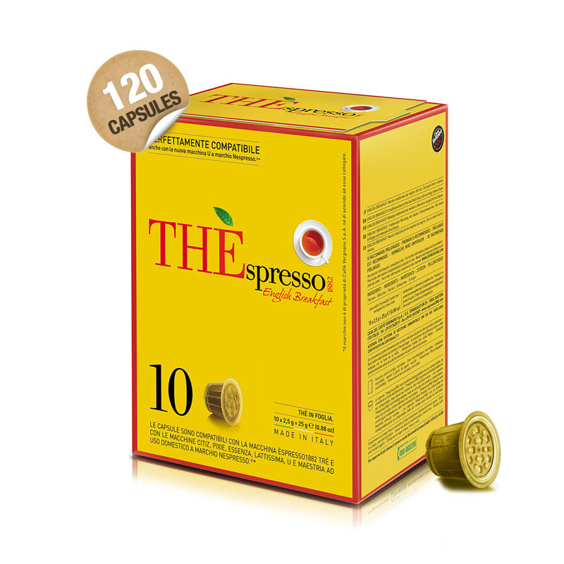 capsule de th the 39 spresso english breakfast de vergnano 1882 120 capsules capsules nespresso. Black Bedroom Furniture Sets. Home Design Ideas